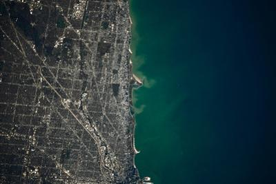 Satellite view of Chicago and Lake Michigan, Illinois, USA