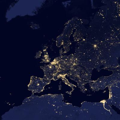 Satellite View of City Lights in Several European and Nordic Cities