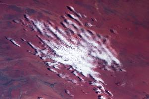 Satellite view of clouds over desert, Costellos, Northern Territory, Australia