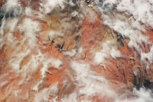Satellite view of clouds over Lake Powell, Arizona, USA