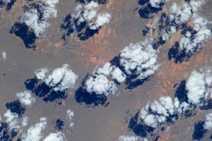 Satellite view of clouds over landscape, Kyzylorda Province, Kazakhstan