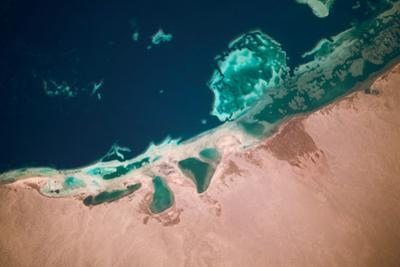 Satellite view of coastal area and Red Sea, Egypt