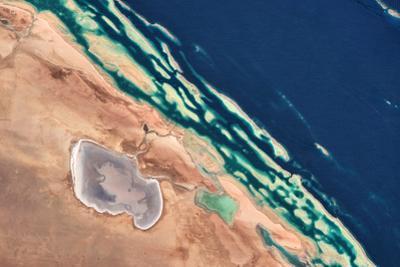 Satellite view of coastal area at Red Sea, Yanbu AL Bahr, Al Madinah Province, Saudi Arabia