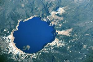 Satellite view of Crater Lake, Oregon, USA