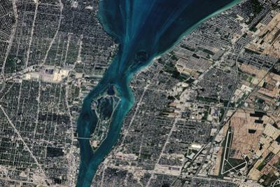 Satellite view of Detroit River and Lake St. Clair, Michigan, USA-Canada