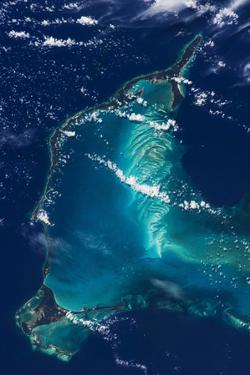 Satellite view of Eleuthera Island and Atlantic Ocean, Bahamas