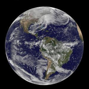Satellite View of Full Earth Showing a Powerful Winter Storm