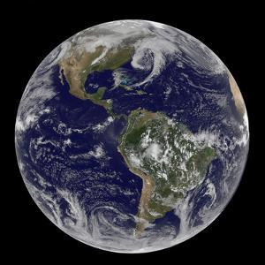 Satellite View of Full Earth Showing Low Pressure Systems