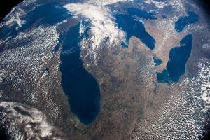 Satellite view of Great Lakes, USA-Argentina