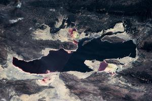 Satellite view of Great Salt Lake and salt flats, Utah, USA