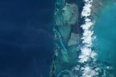 Satellite view of islands, Bahamas