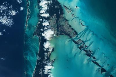 Satellite view of islands, Exuma, Bahamas