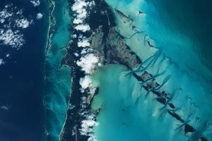 Satellite view of islands, Exuma, Bahamas