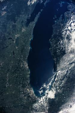 Satellite view of Lake Michigan with Chicago and Milwaukee, USA