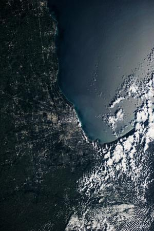 Satellite view of Lake Michigan with Chicago, Illinois, USA