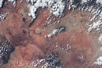 Satellite view of Lake Powell and Colorado River, Glen Canyon, Utah-Arizona, USA