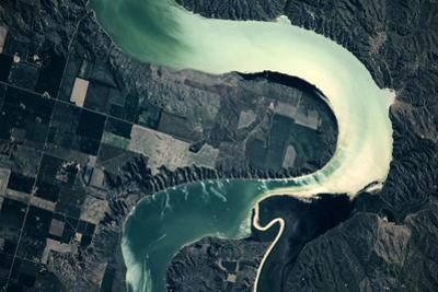 Satellite view of Missouri River, South Dakota, USA