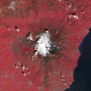 Satellite View of Mount Etna Emitting Plumes of Volcanic Gases