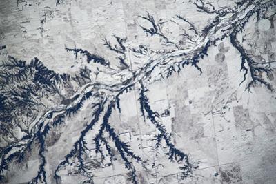 Satellite view of Neobrara River near Newman Grove, Nebraska, USA