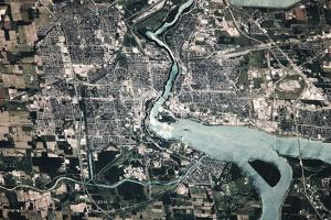 Satellite view of Niagara Falls, New York-Ontario, USA-Canada