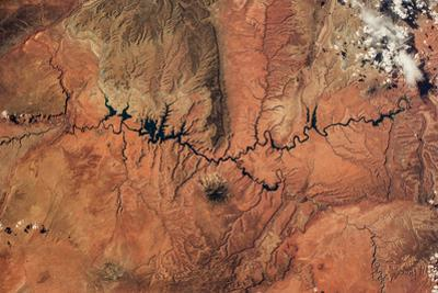 Satellite view of Novajo Nation Reservation and Lake Powell, Grand Canyon, Arizona, USA