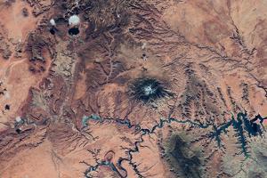 Satellite view of Novajo Nation Reservation and Lake Powell, Grand Canyon, Arizona, USA
