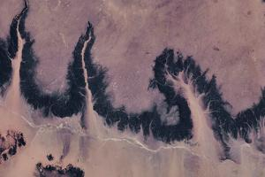 Satellite view of river near Agades, Niger