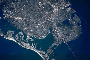 Satellite view of sea port, St. Petersburg, Florida, USA