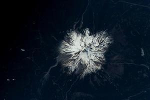Satellite view of snow covered Mount Rainier, Mt Rainier National Park, Washington State, USA
