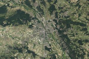 Satellite View of Warsaw, Poland