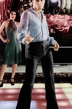 SATURDAY NIGHT FEVER, back to front: Fran Drescher, John Travolta, 1977