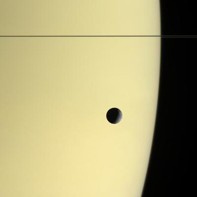 Saturn And Its Moon Tethys, Cassini Image