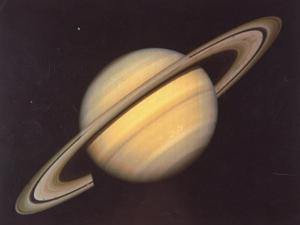 Saturn and Moons Rhea and Dione Taken by Nasa's Voyager 2 Spacecraft