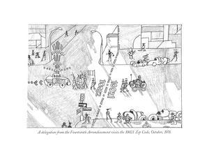 """A delegation from the Fourteenth Arrondissement visits the 10021 Zip Code,…"""" - New Yorker Cartoon by Saul Steinberg"""