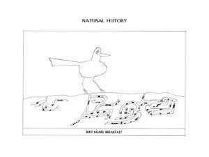 "Bird Hears BreakfastDog Remembers HomeCat Pounces on SoundRabbit Mea…"" - New Yorker Cartoon by Saul Steinberg"