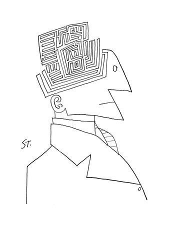 Bust of man. The top of his head is a maze. - New Yorker Cartoon