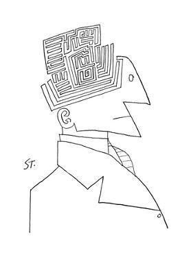 Bust of man. The top of his head is a maze. - New Yorker Cartoon by Saul Steinberg