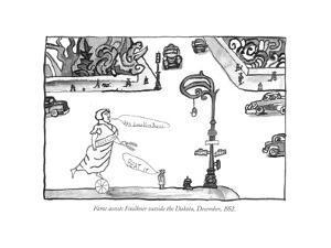 Fame accosts Faulkner outside the Dakota, December, 1952. - New Yorker Cartoon by Saul Steinberg