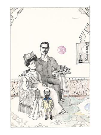 Family portrait with a small bearded man dressed as a child. - New Yorker Cartoon by Saul Steinberg