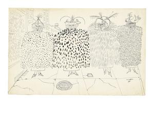 Four women dressed in different fur coats. - New Yorker Cartoon by Saul Steinberg