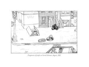 Fragments of people on Second Avenue, August, 1992. - New Yorker Cartoon by Saul Steinberg