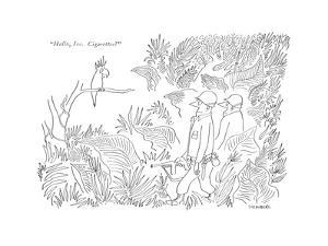"""Hallo, Joe. Cigarettes?"" - New Yorker Cartoon by Saul Steinberg"