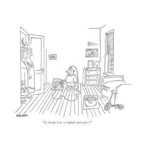 """It keeps him occupied and quiet."" - New Yorker Cartoon by Saul Steinberg"