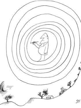 Man has drawn himself inside of a swirl. - New Yorker Cartoon by Saul Steinberg