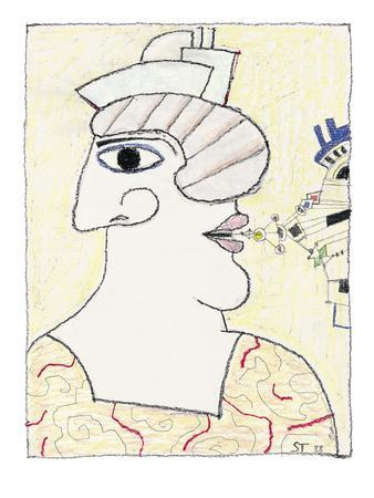 Profile drawing with nose on one side of the head, and the mouth on the ot? - New Yorker Cartoon