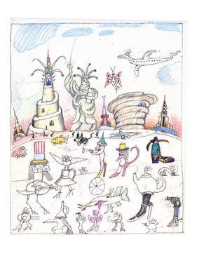 Steinbergian landscape populated with monuments, statues, and walking crea… - New Yorker Cartoon by Saul Steinberg