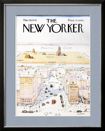 The New Yorker Cover, View of the World from 9th Avenue - March 29, 1976 by Saul Steinberg