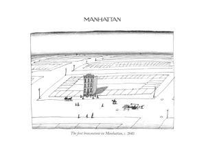 The ?rst brownstone in Manhattan, c. 1840. - New Yorker Cartoon by Saul Steinberg