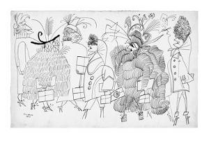 Women dressed in various fanciful outfits. - New Yorker Cartoon by Saul Steinberg