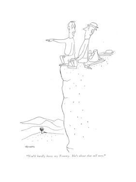 """""""You'd hardly know my Tommy. He's about that tall now."""" - New Yorker Cartoon by Saul Steinberg"""